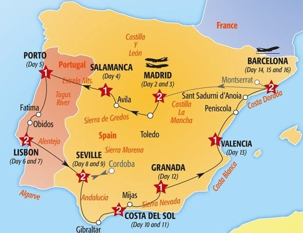 Recorrido en auto por España y Portugal