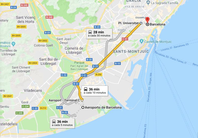 Mapa del trayecto desde el Aeropuerto de Barcelona hasta el centro